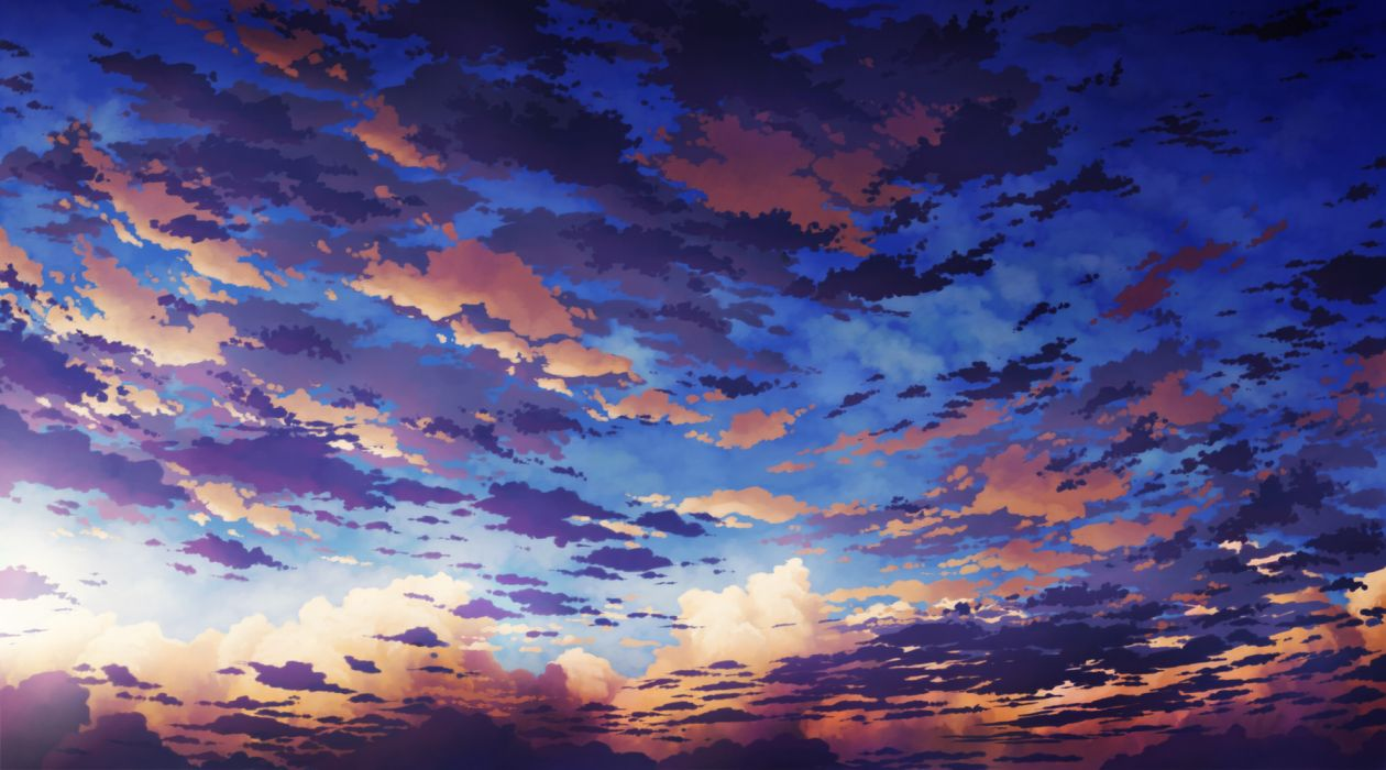aoha (twintail) clouds original scenic sky wallpaper