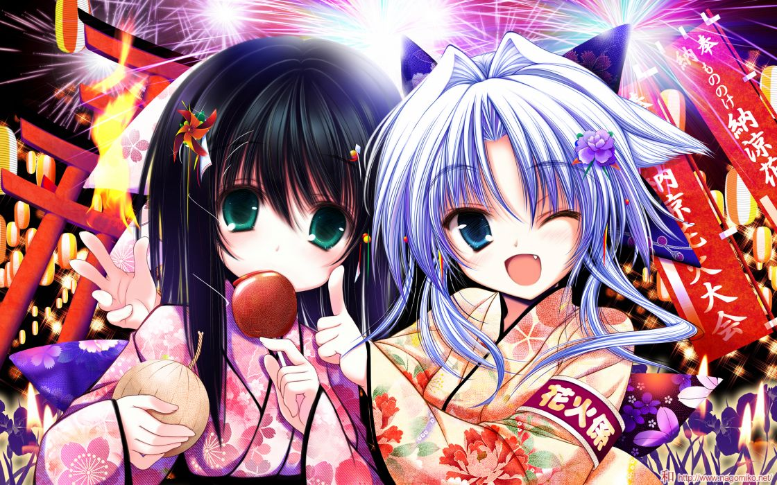 apple black hair blue eyes blue hair fang fireworks flowers food green eyes japanese clothes original tenmu shinryuusai wink yukata wallpaper