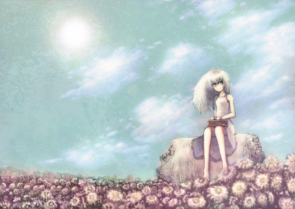 aqua eyes barefoot blackball clouds dress flowers original sky white hair wallpaper