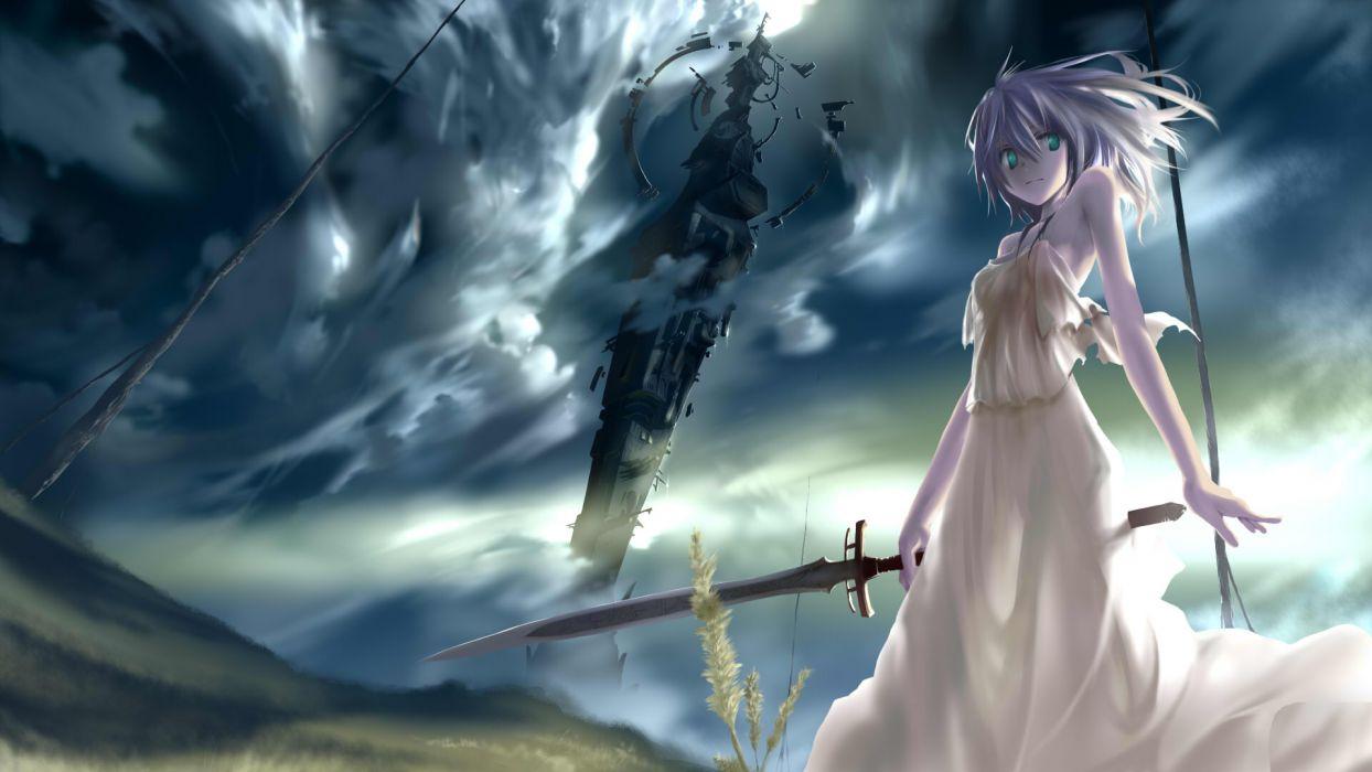 aqua eyes clouds dress jpeg artifacts original sky ssi sword weapon wallpaper