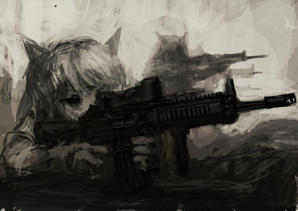 animal ears catgirl gun lm7 (op-center) monochrome original weapon wallpaper