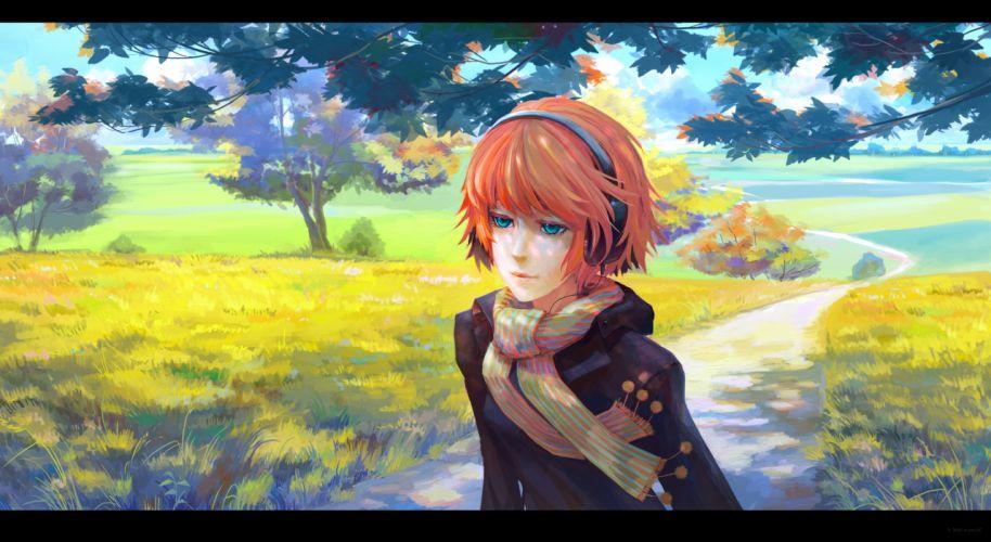 arsenixc autumn grass green eyes headphones orange hair original scarf tree wallpaper
