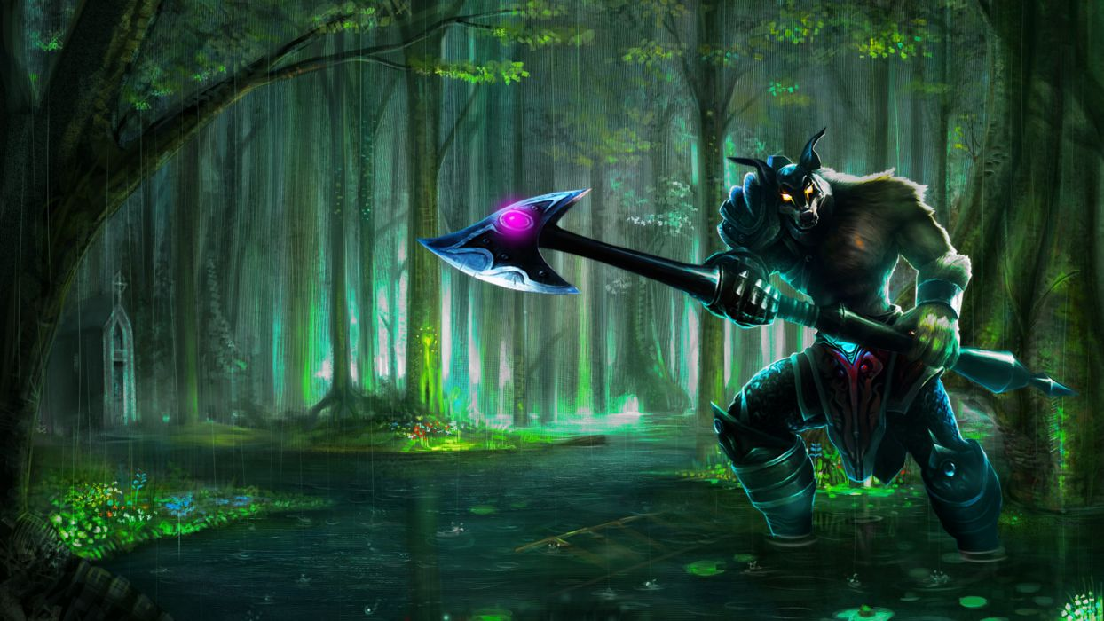 Axe Rain Warrior Green wallpaper