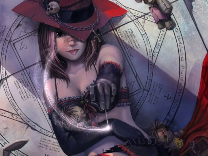 bandaid brown eyes brown hair chain cleavage doll elbow gloves jpeg artifacts magic okita original realistic short hair skull witch hat wallpaper