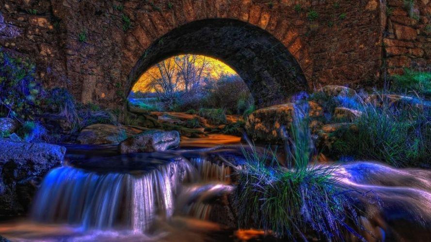 architecture rivers bridge waterfall wallpaper