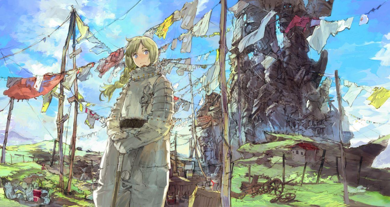 armor blonde hair blue eyes landscape original scenic sky toi8 wallpaper