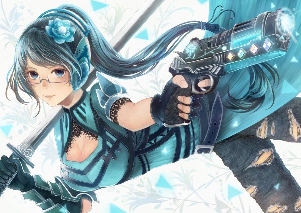 armor bou nin cleavage glasses gun headphones katana original ponytail sword weapon wallpaper