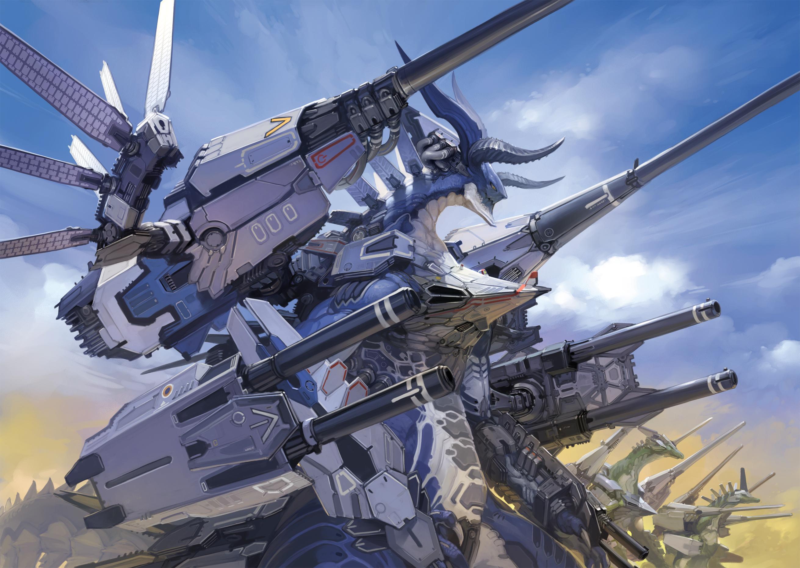Armored Dragon Wallpaper Armor Dragon Gun Horns