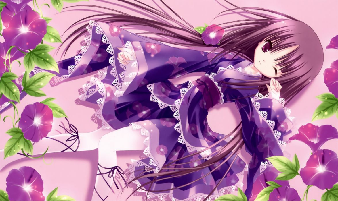 bell (artist) flowers harukaze setsuna japanese clothes lolita fashion long hair original purple hair tagme tinkle wink wallpaper