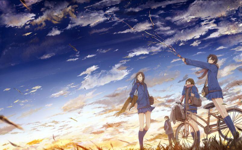 bicycle brown hair clouds glasses kneehighs moka_ tapioka original scarf seifuku skirt sky wallpaper