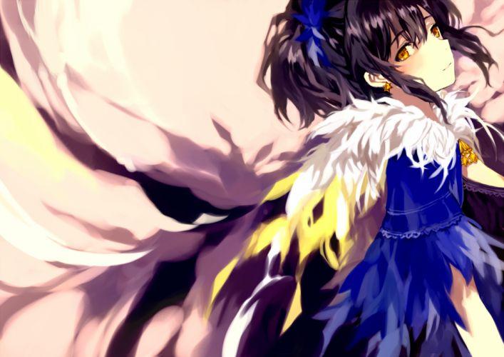 black hair original tan (tangent) wings yellow eyes wallpaper