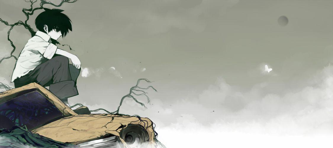 black eyes black hair car male mononoke (empty) moon original sky tree wallpaper