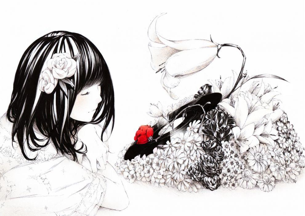 black hair flowers original polychromatic rose sawasawa wallpaper