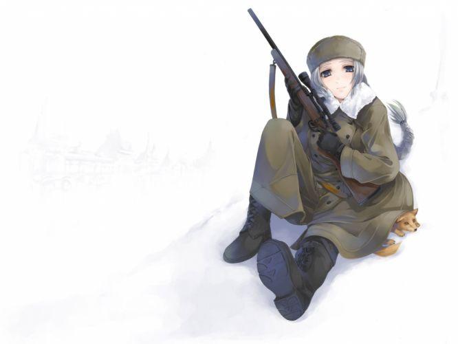 blue eyes boots fox gun hat original ponytail simosi snow weapon white hair wallpaper