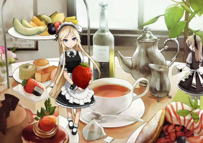 blonde hair blue eyes drink food kibamigohann maid original strawberry wallpaper