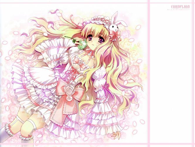 blonde hair blush carnelian flowers maid petals pink eyes wallpaper