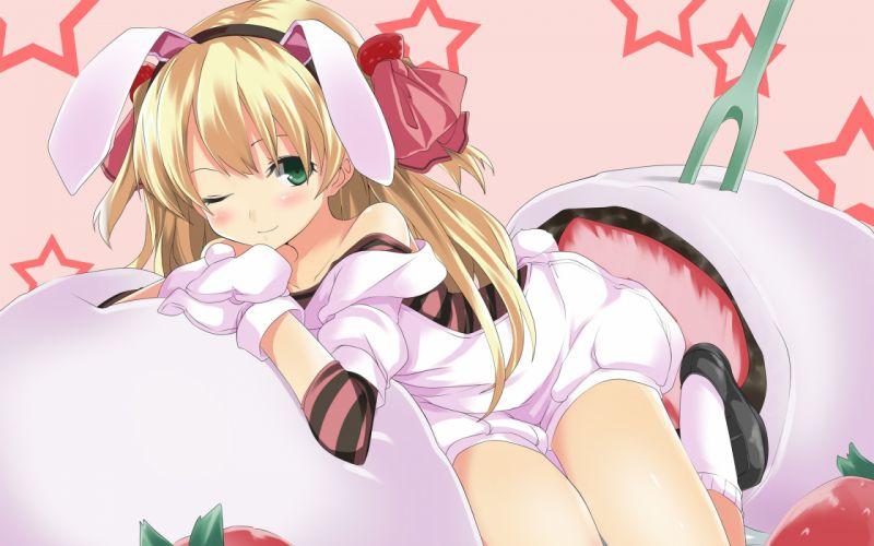 blonde hair bunny ears bunnygirl food gintarou (kurousagi108) green eyes original strawberry wink wallpaper