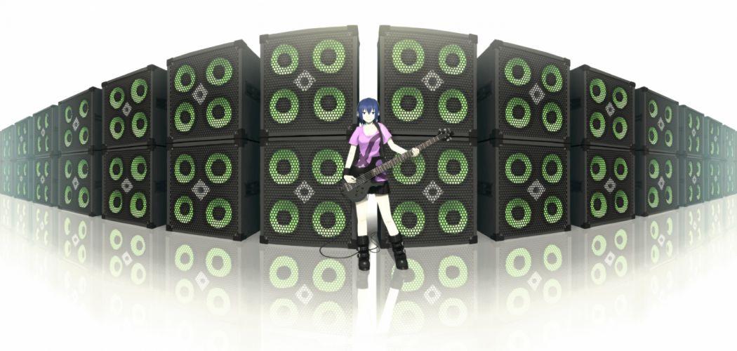 blue eyes blue hair boots guitar headphones instrument original sakais3211 shirt short hair skirt wallpaper