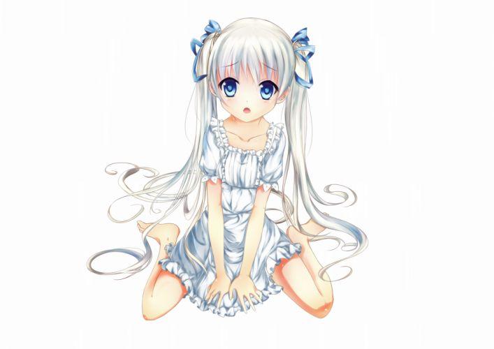 blue eyes dress hizo (hizoo) loli original twintails white wallpaper