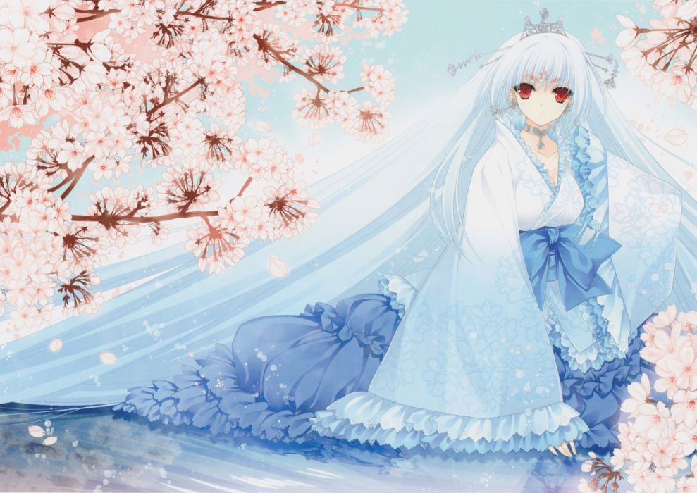 blue hair crown dress flowers long hair original red eyes suzuhira hiro wallpaper
