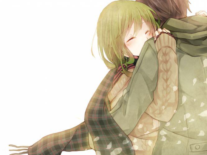 blush gumi hina hug scarf vocaloid wallpaper