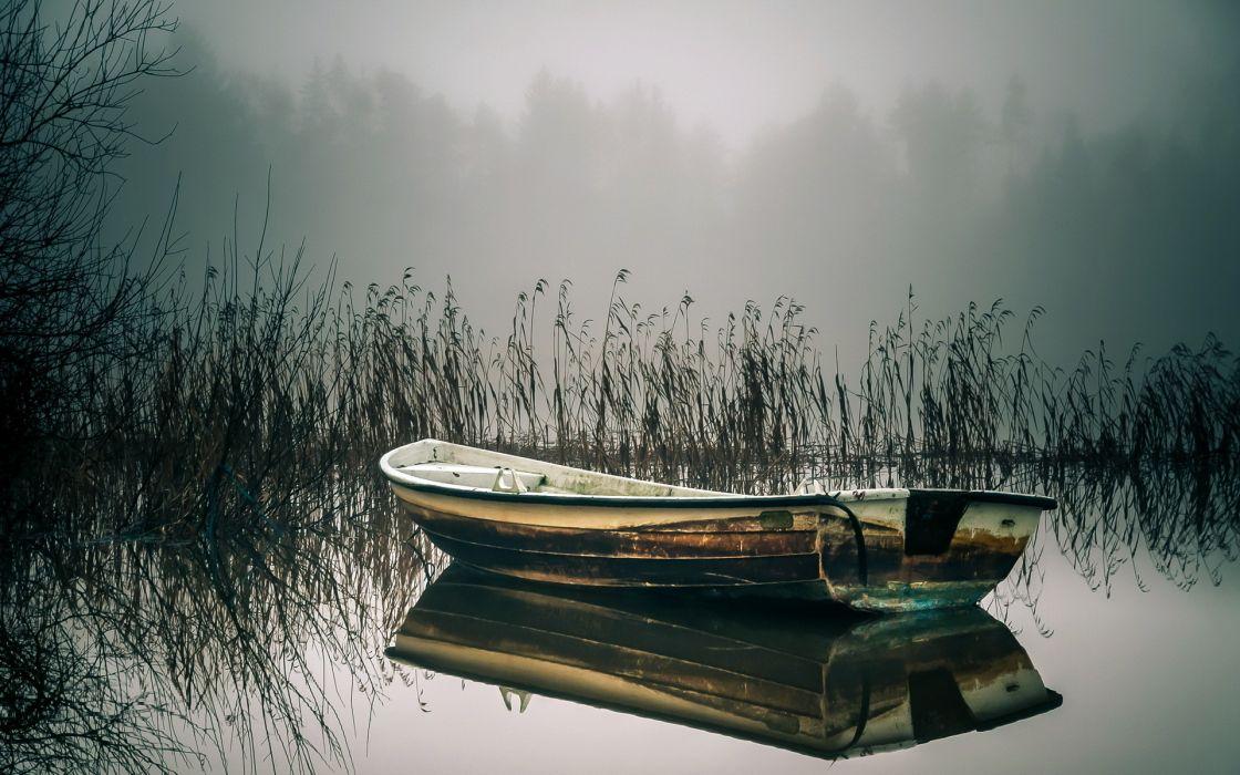 boat lake reeds reflection wallpaper