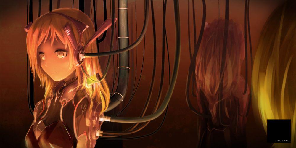 bodysuit koko (bemaec) long hair mechagirl orange hair original wallpaper