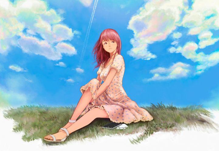 book clouds dress grass long hair original red hair sky yazu ranko wallpaper