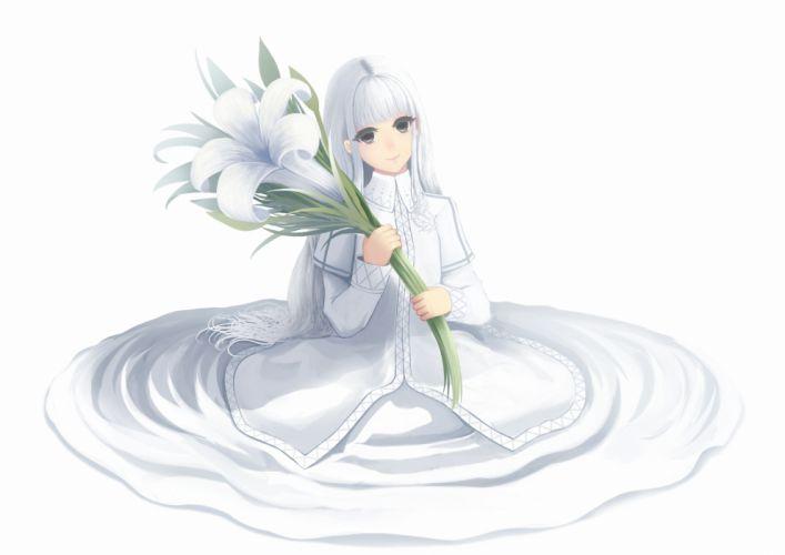 bou nin dress flowers long hair original purple eyes white white hair wallpaper