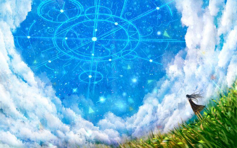 bou nin clouds dress grass long hair original sky wallpaper