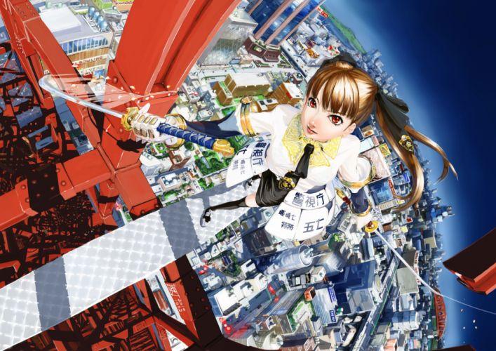 brown hair chitose shuusui city gloves katana original red eyes sword weapon wallpaper