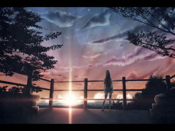 brown hair clouds hono mochizuki long hair original seifuku skirt sky stars thighhighs tree wallpaper