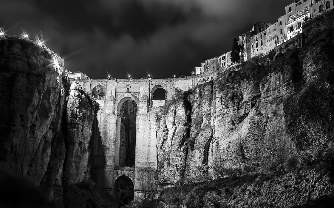 Buildings BW Night Cliff wallpaper