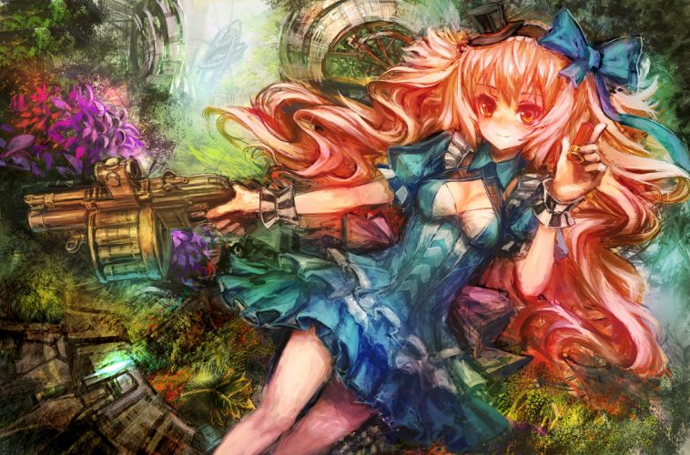 breasts dress hat lm7 (op-center) long hair original red eyes red hair weapon wallpaper