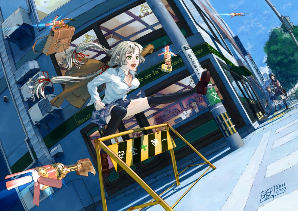 chitose shuusui gray hair green eyes gun long hair original seifuku twintails weapon wallpaper