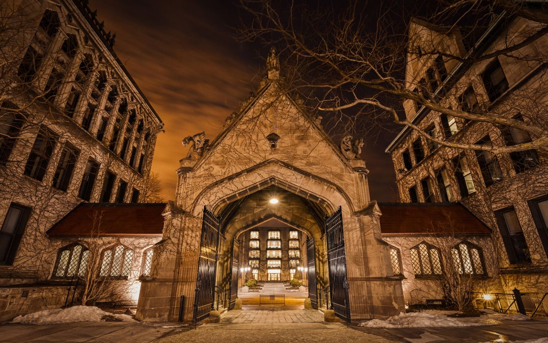 Buildings Night University University of Chicago Hull Gate Regenstein wallpaper