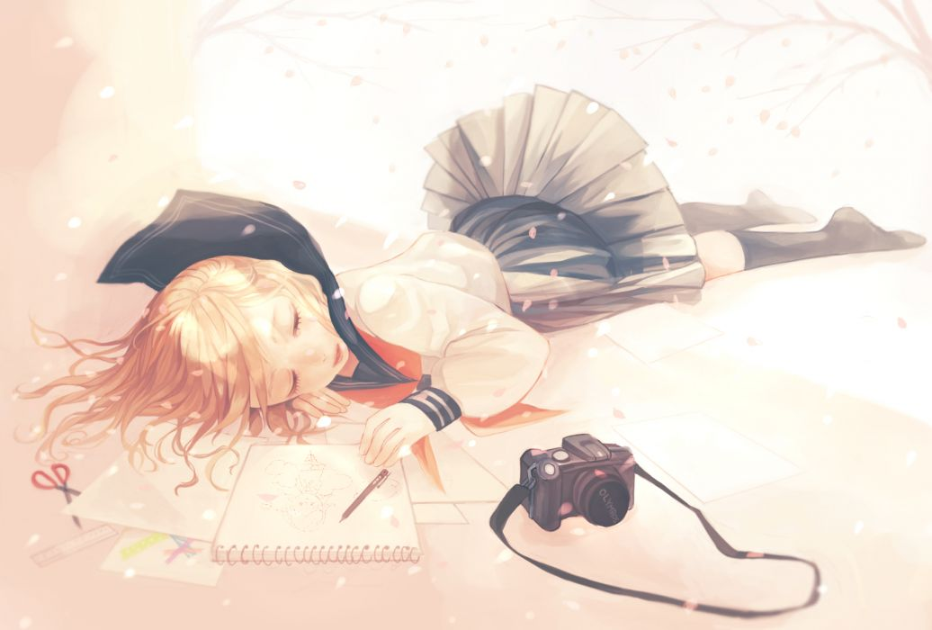 camera czc (deko) original petals seifuku sleeping wallpaper