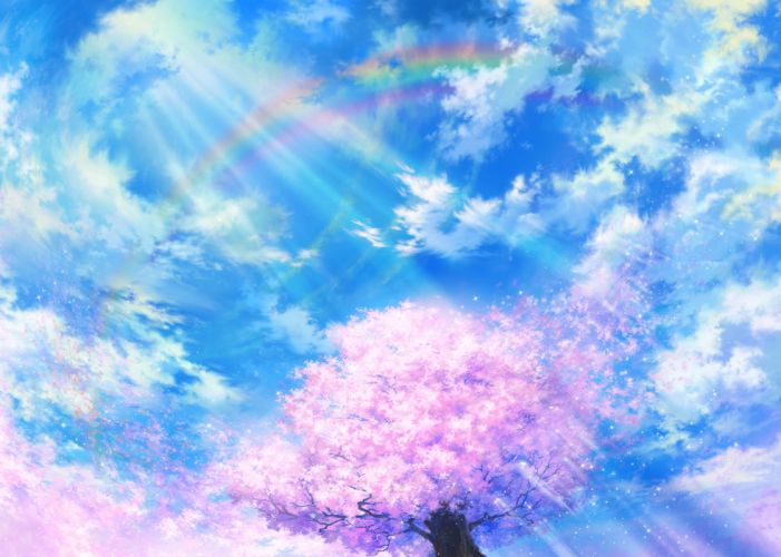 cherry blossoms clouds iy tujiki original petals rainbow scenic sky tree wallpaper