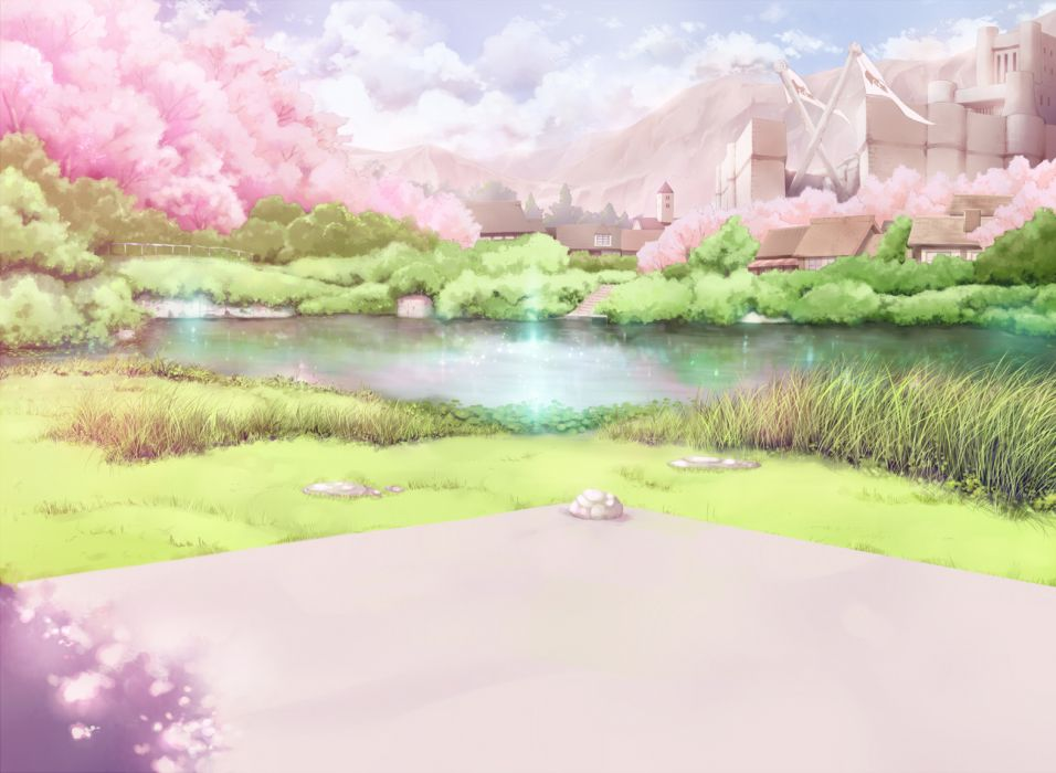 cherry blossoms clouds landscape original ryouku scenic water wallpaper