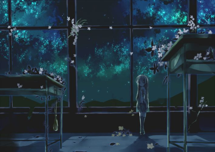 cherry blossoms dark flowers kazatabi lee long hair night original seifuku thighhighs wallpaper