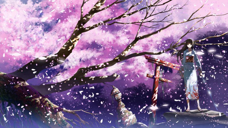 cherry blossoms japanese clothes justminor katana original petals sword weapon wallpaper