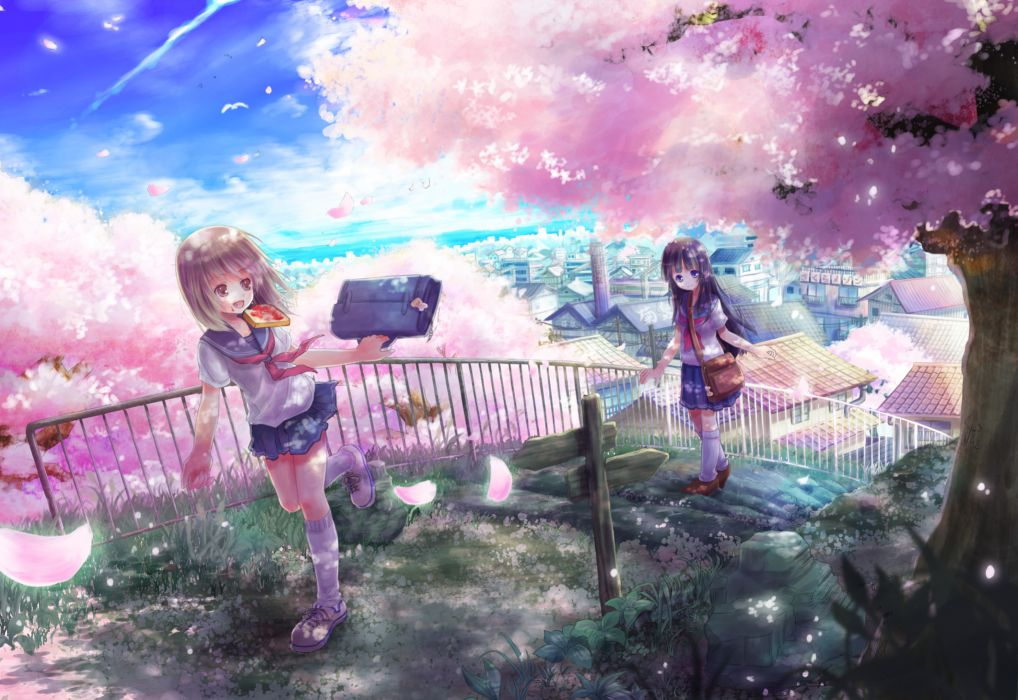 cherry blossoms mikkii original petals seifuku sky tree wallpaper