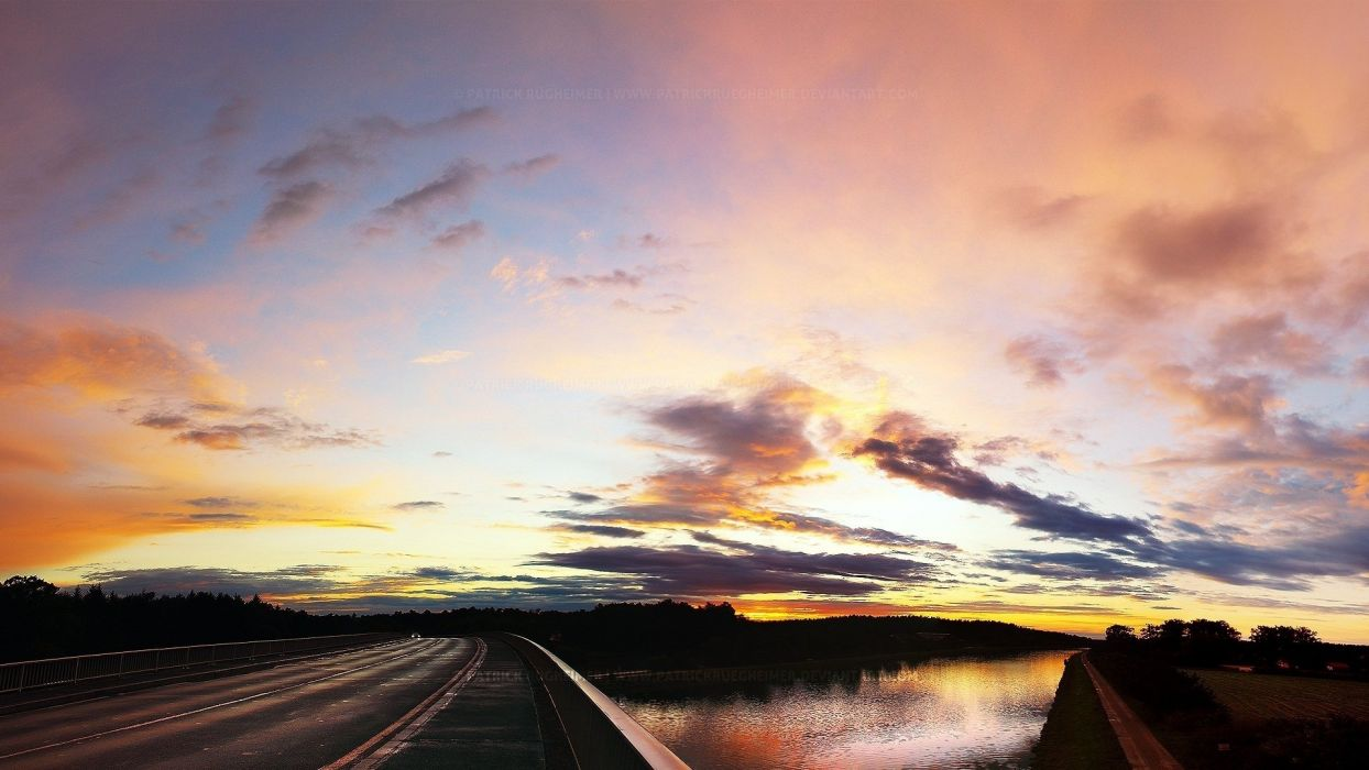 clouds river road highway sunset wallpaper