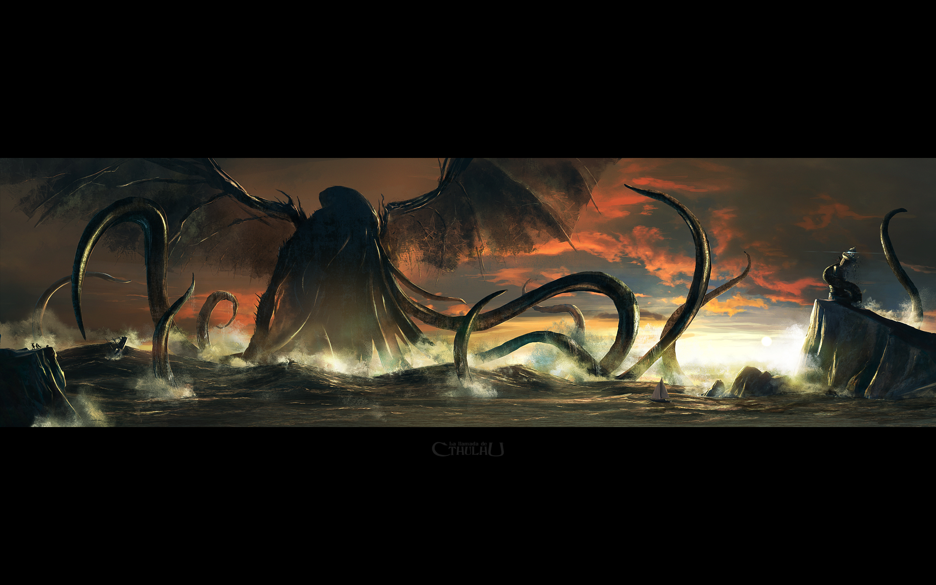 cthulhu monster wings wallpaper 1920x1200 64358