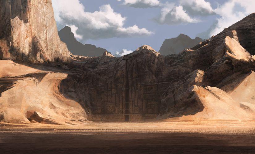 Desert Drawing City wallpaper