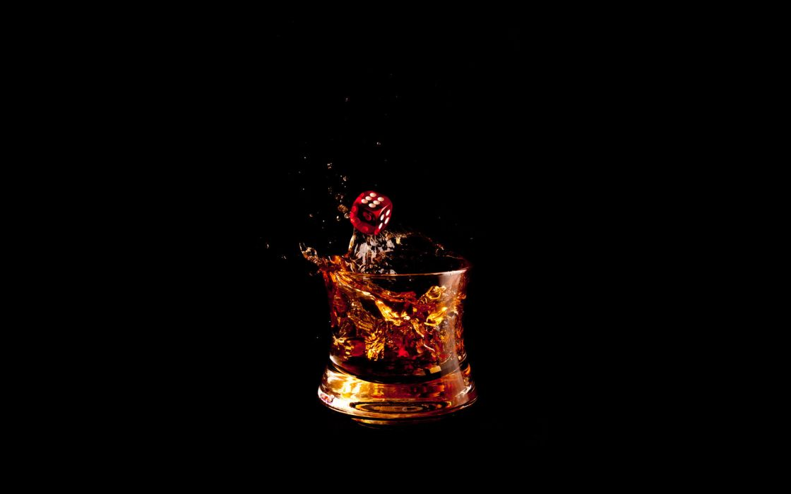 Dice Alcohol Black Splash wallpaper
