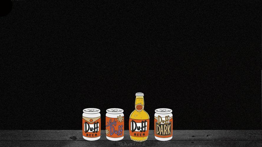 Duff Beer Alcohol Simpsons Black wallpaper