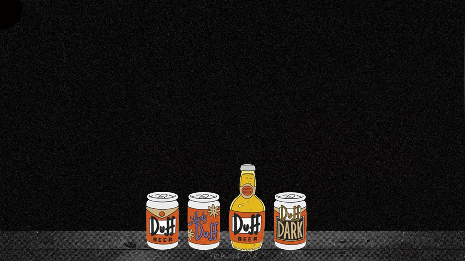 duff beer alcohol simpsons black wallpaper 1820x1024