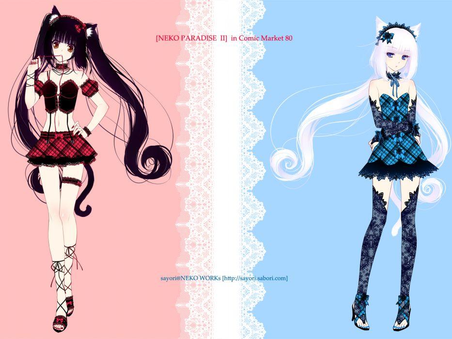 girls animal ears black hair blue eyes catgirl corset garter long hair navel no bra orange eyes original sayori skirt thighhighs twintails white hair wallpaper