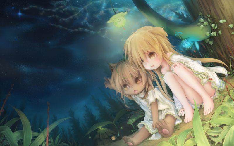 girls animal ears blonde hair doggirl fang forest kukki (manahui) night original sky stars wallpaper